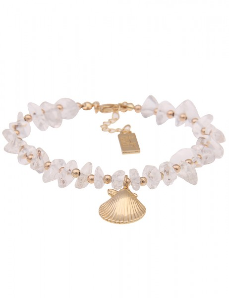 Leslii Damenarmband Clara Muschelarmband Stein-Armband Modeschmuck Länge 19cm in Gold Weiß