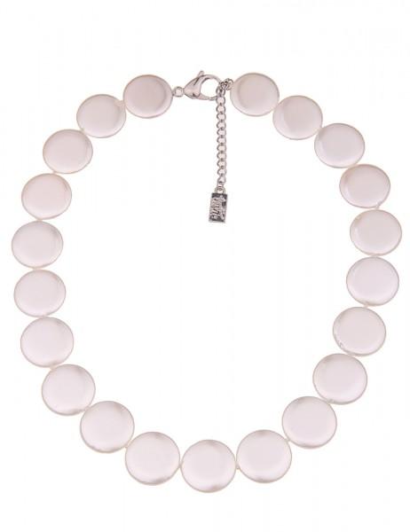 Leslii Damenkette Premium Perlen-Scheiben Collier echte Perlenkette Muschelkern Perlenschmuck Halske