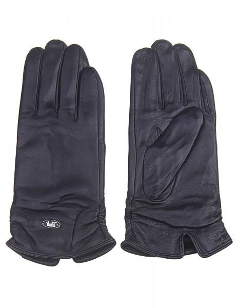 Leslii Damen-Handschuhe Fashion Klassik echte Leder-Handschuhe schwarze Winter-Handschuhe Teddy-Flee