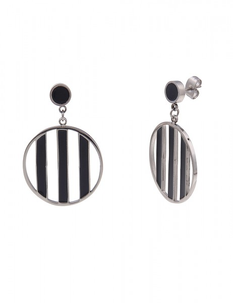 Leslii Damenohrringe Ohrhänger Premium Streifen-Muster Ohrschmuck schwarze Modeschmuck-Ohrringe 3,6c