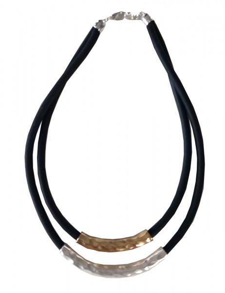 Leslii Damenkette Statement Look Bicolor aus Gummi mit Metalllegierung Länge 46cm in Schwarz Silber