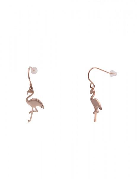 Leslii 4teen Damenohrringe Ohrhänger Flamingo aus Metalllegierung Länge 3,3cm in Rosé