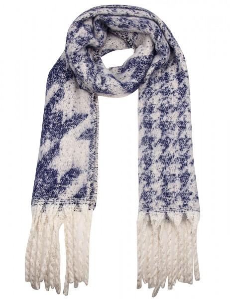 Leslii Damen XXL-Schal Hahnentritt-Muster 100% Polyester 195cm x 46cm Blau Beige 900117161
