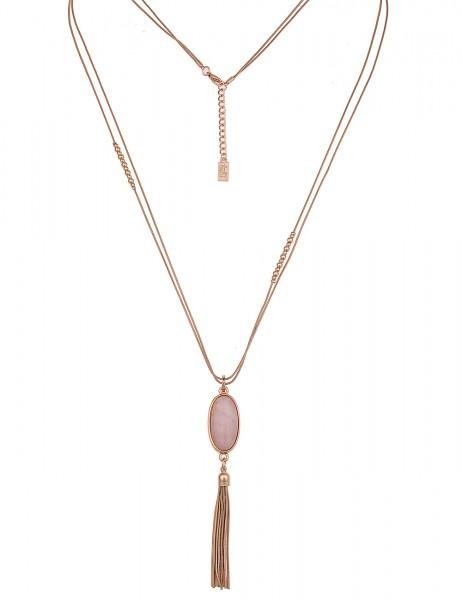 Leslii Damenkette Naturstein Oval aus Metalllegierung 83cm in Gold Rosa