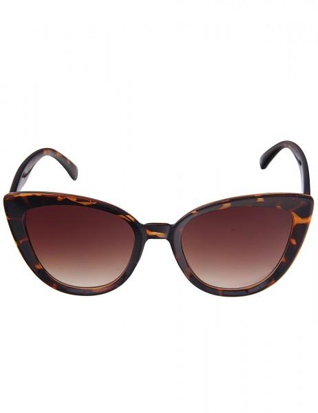 Leslii Sonnenbrille Damen Cateye-Sonnenbrille Horn-Look braune Designerbrille Sunglasses Kunststoff