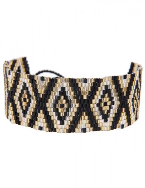 -70% SALE Leslii Damen-Armband Web-Muster Raute Schwarz Gold Textil Glasperlen Größe verstellbar 260