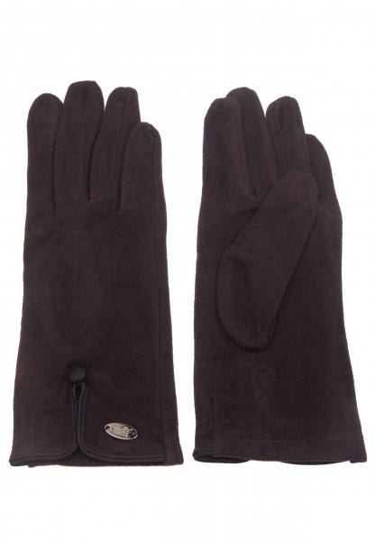 Leslii Damen-Handschuhe Fashion Knopf Zierknopf graue Winter-Handschuhe weiche Handschuhe Herbst Grö