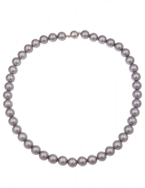Leslii Damenkette graue Perlen-Kette Perlen-Collier echte Muschelkern-Perlen kurze Halskette Modesch