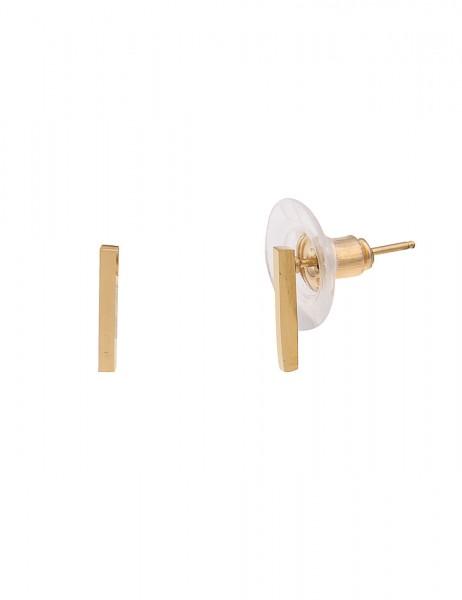 Leslii 4Teen Damenohrringe Ohrstecker Stripe aus Metalllegierung Länge 1cm in Gold