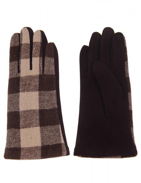 Leslii Damen Handschuhe Fashion Karomuster aus Polyester Größe One Size in Braun