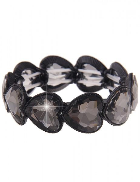 Leslii Damen-Armband Herz-Armband Glitzer-Armreif Statement-Armband Herz-Schmuck schwarzes Modeschmu