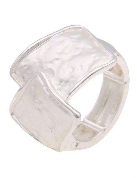 Leslii Damen-Ring breiter Statement-Ring Quadrate Formen Muster silberner Modeschmuck-Ring in Silber