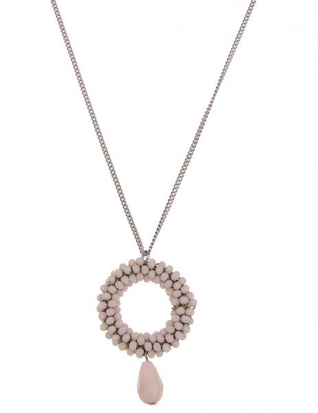 -70% SALE Leslii Halskette Kristallkorn Ring Beige | lange Damen-Kette Mode-Schmuck | 86cm + Verläng