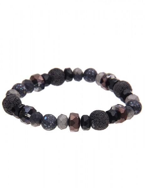 Leslii Damenarmband Natur Look aus Glasperlen mit Lava-Steinen Länge dehnbar in Schwarz Grau