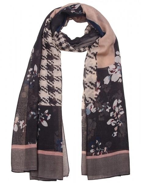 Leslii Damen-Schal Muster Mix Style Musterschal weicher Herbstschal Hahnentritt-Muster Blumen Größe