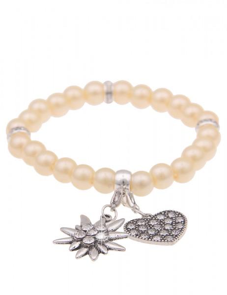 Leslii Damen-Armband Herz-Anhänger Edelweiß Oktoberfest Wiesn Dirndl beiges Perlen-Armband Modeschmu