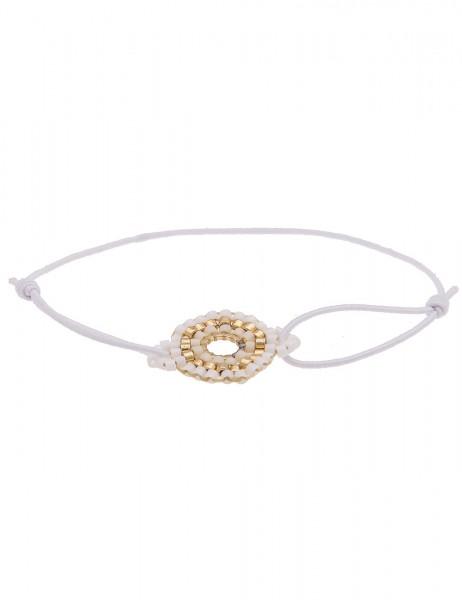 Leslii 4teen Damenarmband Web-Ring aus Textil mit Glasperlen Größe dehnbar in Weiß Gold