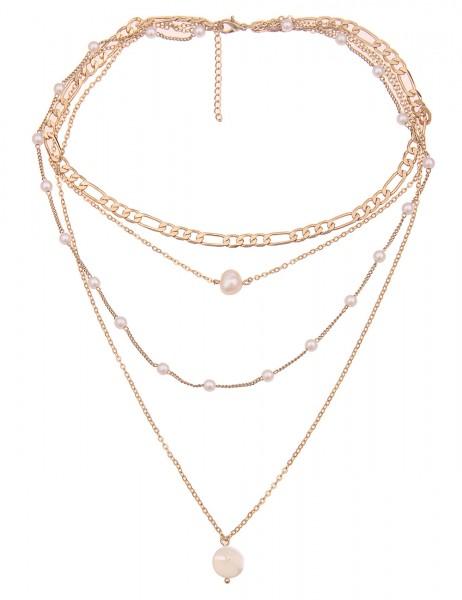 Leslii Damenkette Layering Glieder-Kette weiße Perlen-Kette Perlmutt kurze Halskette goldene Modesch