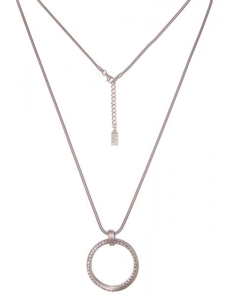 Leslii Damen-Kette Glitzer-Ring Strass-Kette Schlangen-Kette lange Halskette silberne Modeschmuck-Ke