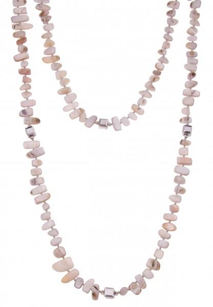 Leslii Lange Halskette Natur Perlmutt-Kette Wickelkette lange Halskette Modeschmuck-Kette Länge 120c