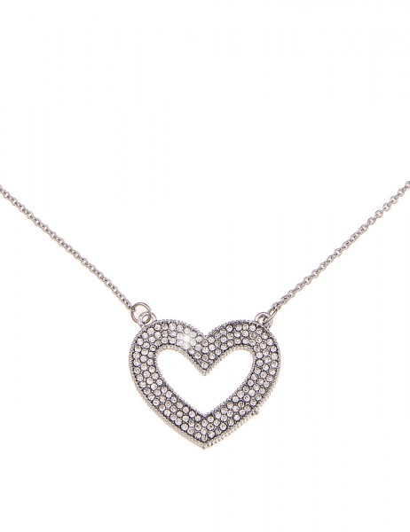 -70% SALE Leslii Halskette Strass Herz Silber | kurze Damen-Kette Mode-Schmuck | 44cm + Verlängerung