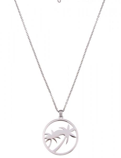 LAST CHANCE Leslii Halskette Palme Silber | lange Damen-Kette Mode-Schmuck | 85cm + Verlängerung