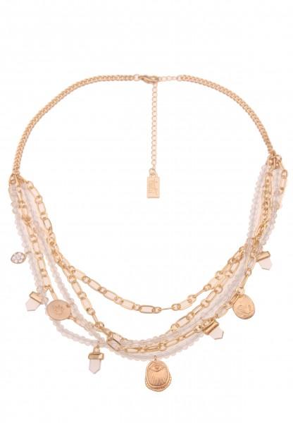 Leslii Damen-Kette Glitzer Carmen Statement-Kette kurze Halskette Layer-Kette Collier goldene Modesc
