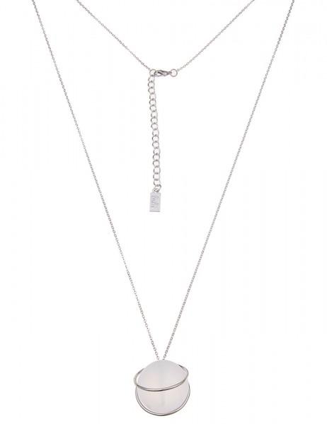 -50% SALE Leslii Damen-Kette Glaskugel Silber Weiß Metalllegierung Glas 85cm + Verlängerung 22011593