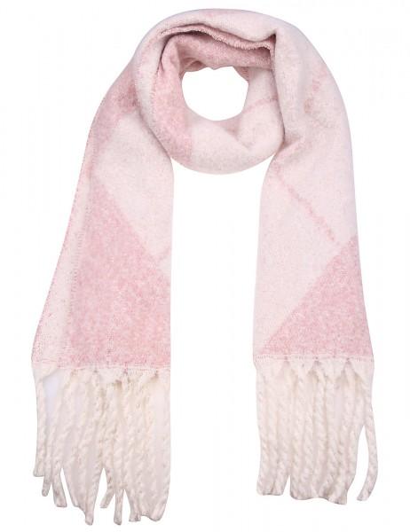 Leslii Damen XXL-Schal Rauten-Muster 70% Viskose, 30% Lurex 180cm x 46cm Rosa Weiß 900217244
