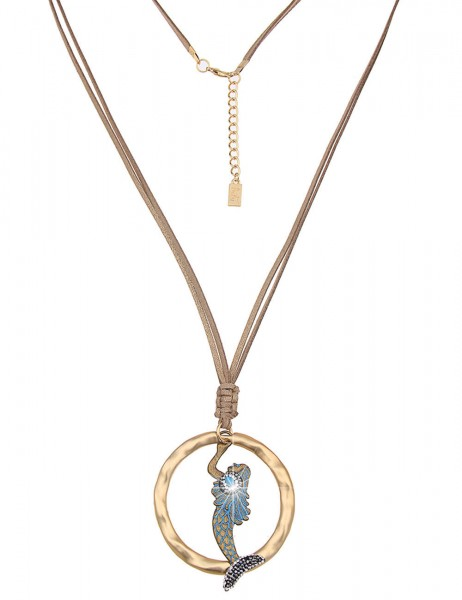 Leslii Damen-Kette Meerjungfrau Gold Braun Metalllegierung Lederimitat 80cm + Verlängerung 220115830