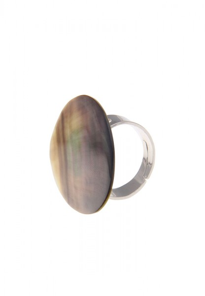 LAST CHANCE Leslii Ring Blacklip-Muschel Grau Silber | Trendiger Damen-Ring | Mode-Schmuck | Größe f