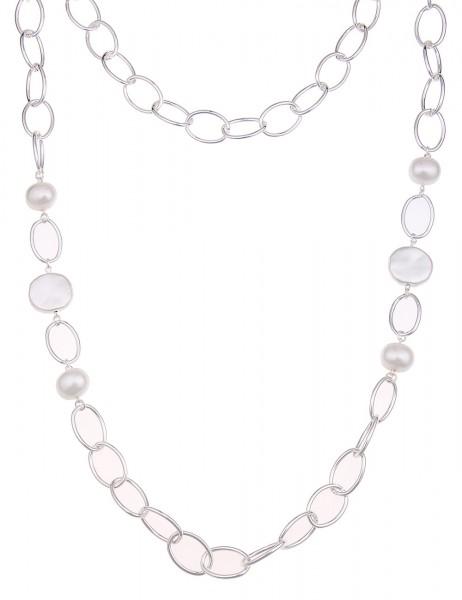 Leslii Halskette Charming Pearl Silber Weiß | lange Damen-Kette Mode-Schmuck | 90cm