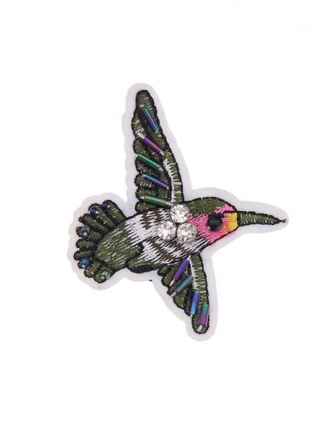 Leslii 4teen Brosche Mini Kolibri aus Textil mit Strass Größe 7cm x 5,3cm in Grün Bunt