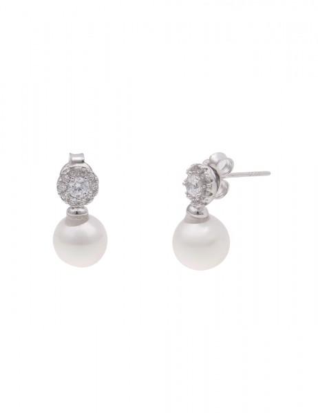 Leslii Damen-Ohrringe Ohrstecker Sterling Silber 925 Muschelkern-Perle Strass Weiß 1,5cm 230115994