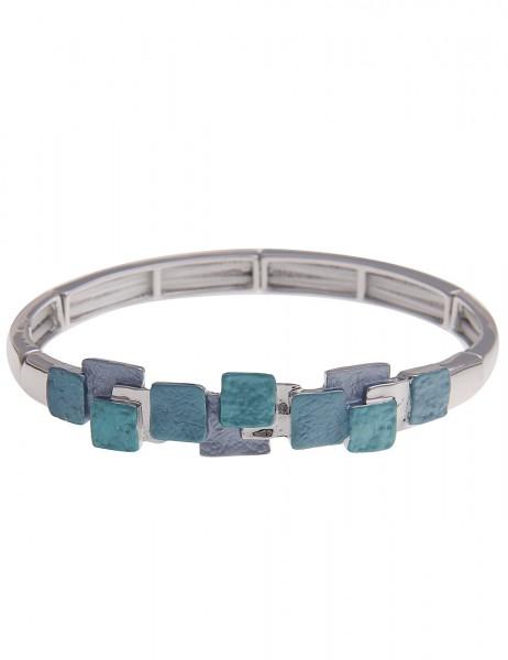 Leslii Damenarmband Armreif Tiefsee aus Metalllegierung Länge 19cm dehnbar in Silber Blau