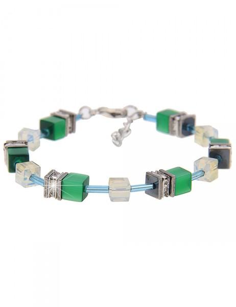 -50% SALE Leslii Premium Quality Damen-Armband Glitzer-Würfel Grün Metalllegierung Strass 19cm + Ver