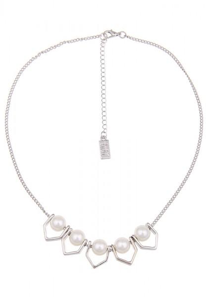 Kurze Halskette Perlen Ecken Silber Weiß