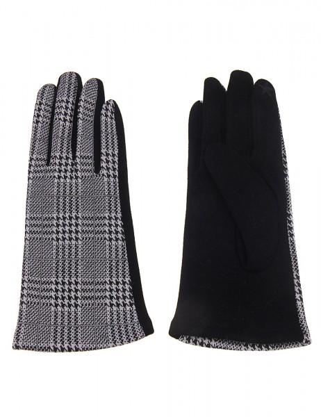 Leslii Damen Handschuhe Hahnentritt Muster aus Polyester und Baumwolle Größe One Size in Schwarz Wei