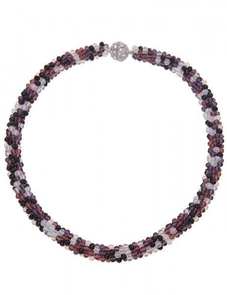 Leslii Damenkette Kristallkorn Collier aus Glasperlen mit Strass Länge 47cm in Schwarz Lila