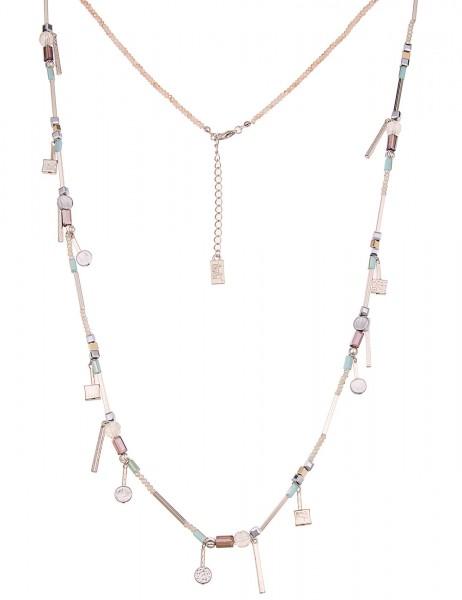 Leslii Damen-Kette Material Mix Silber Blau Beige Glasperlen Metalllegierung 90cm + Verlängerung 220