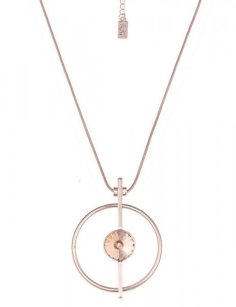 Leslii Halskette Glitzer Stein Rosé | lange Damen-Kette Mode-Schmuck | 81cm + Verlängerung