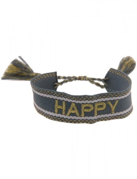 Leslii Damen-Armband Festival-Armband Happy-Schriftzug Blau Gold
