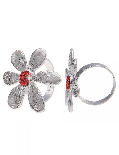 -50% SALE Leslii Damen-Ring Glitzer-Blüte Metalllegierung Größe verstellbar 250215846