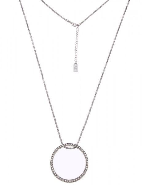 Leslii Damen-Kette Perlen-Kreis Silber Weiß Metalllegierung 84cm + Verlängerung 220115990