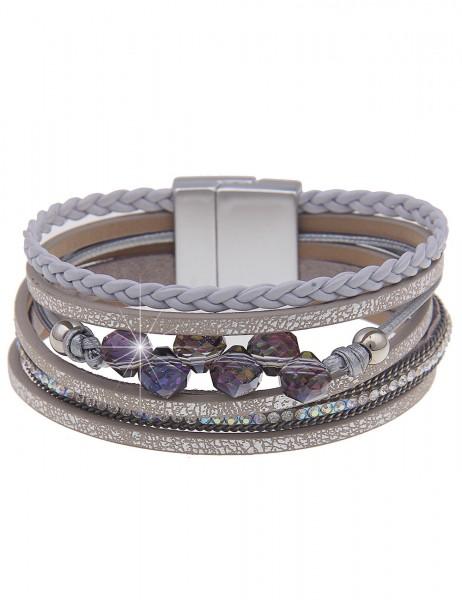 Leslii Damenarmband Glitzer Look aus Lederimitat mit Strass Länge 19cm in Silber Grau