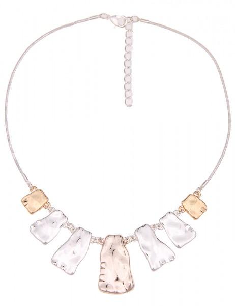 Leslii Damen-Kette Tricolor Style Silber Gold Rosé Metalllegierung Hochglanz 45cm + Verlängerung 210