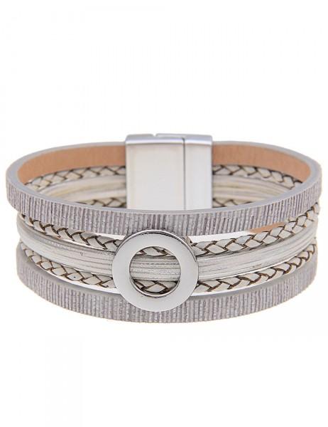 Leslii Damen-Armband Glanz-Ring Lederimitat 19,5cm mit Magnet-Verschluss 260215982