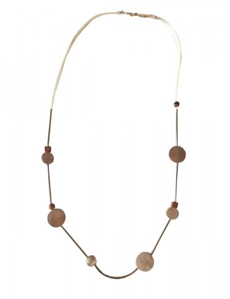 Leslii Damenkette Rodeo aus Metalllegierung mit Holz Länge 96cm in Gold Beige
