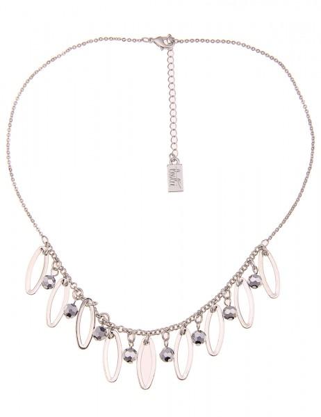 Leslii Damen-Kette Glasperlen Oval Silber Grau Metalllegierung Hochglanz 42cm + Verlängerung 2101167