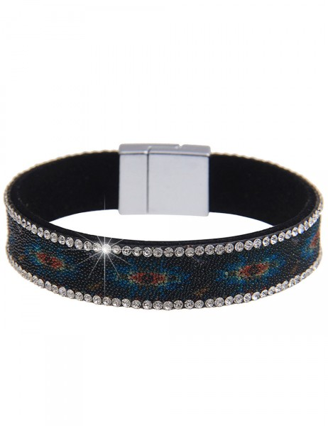 -50% SALE Leslii Damen-Armband Mini-Perlen Grün Blau Lederimitat Strass Länge: 19.5cm Magnetschließe
